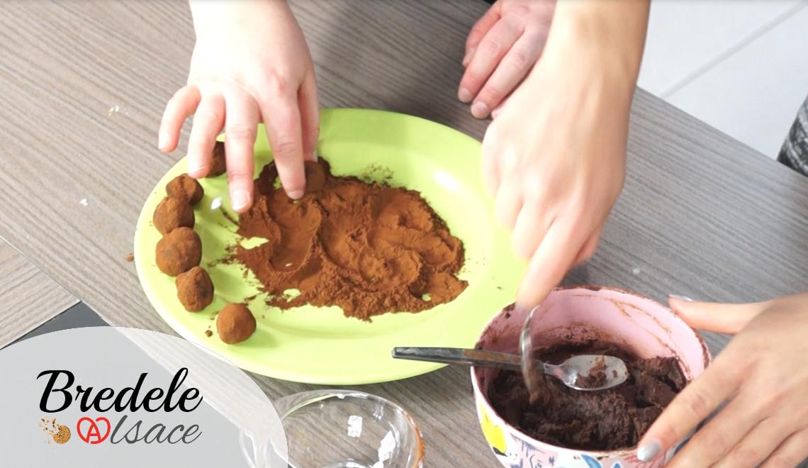 préparation truffes au chocolat